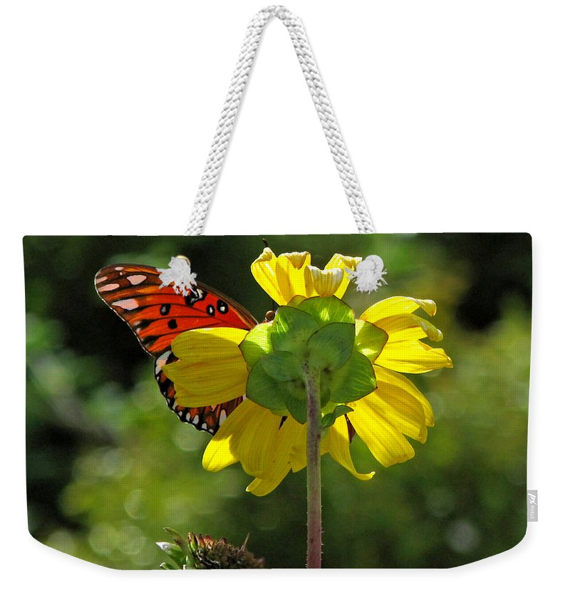 Nature Weekender Tote Bag featuring the photograph Wing Flower by Peg Urban
