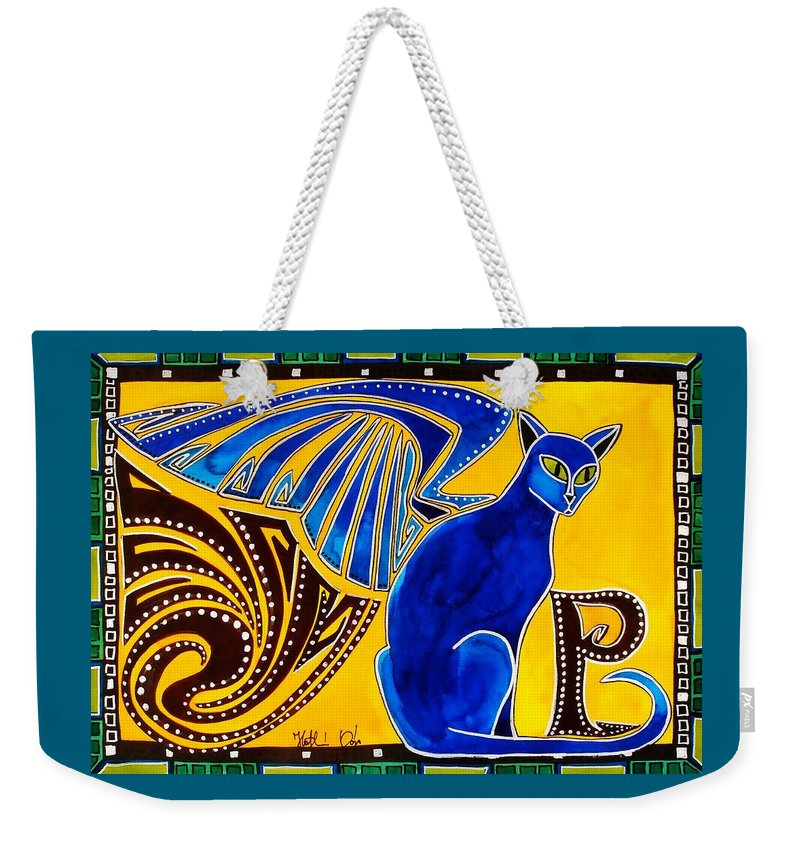 Cat Art Weekender Tote Bag featuring the painting Winged Feline - Cat Art with letter P by Dora Hathazi Mendes by Dora Hathazi Mendes