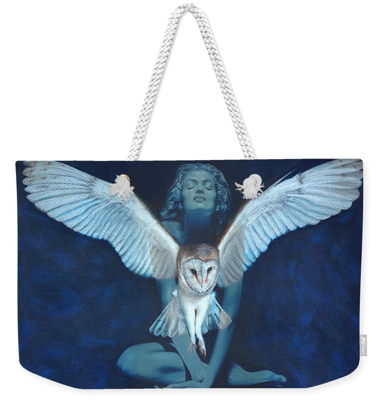Owl Weekender Tote Bag featuring the painting Winged Heart by Ragen Mendenhall