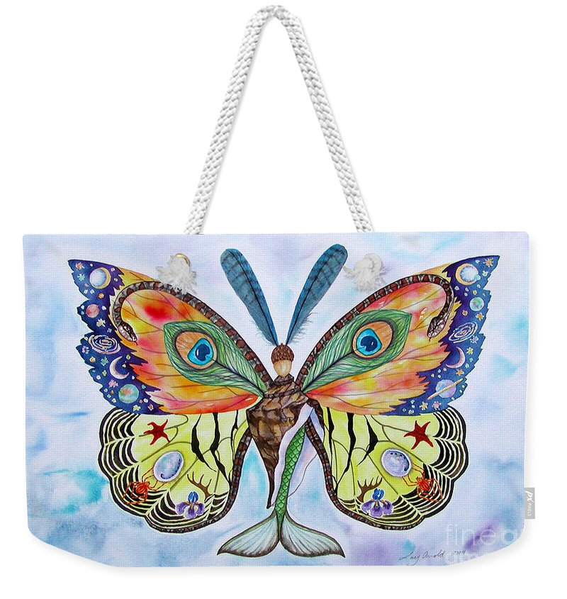 Butterfly Weekender Tote Bag featuring the painting Winged Metamorphosis by Lucy Arnold