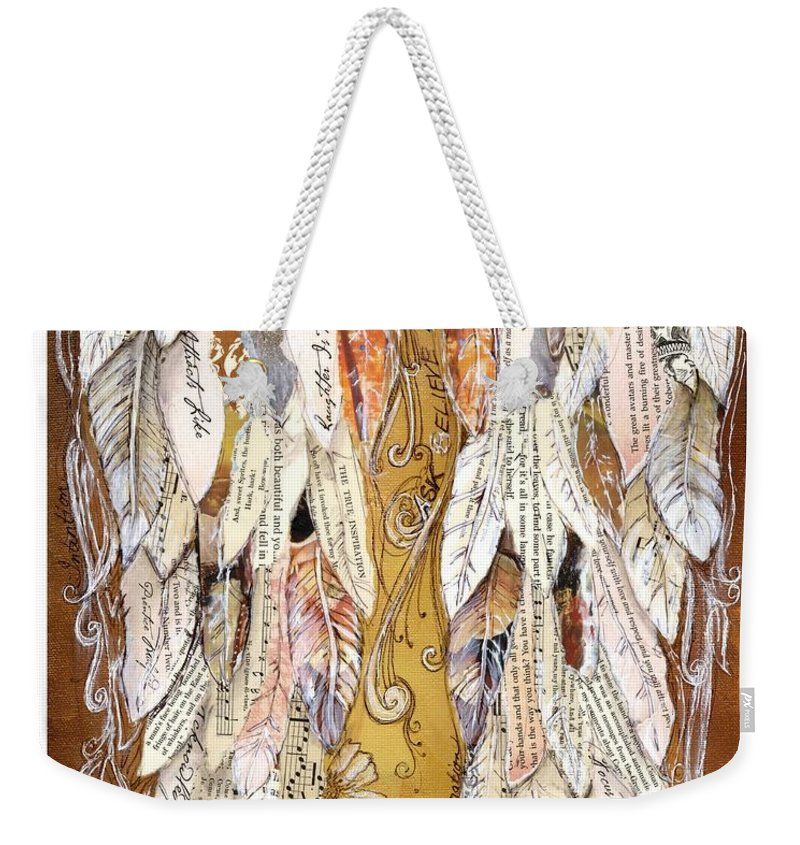 Wings Of Love Weekender Tote Bag featuring the painting Wings Of Love Sienna by Michelle Lake