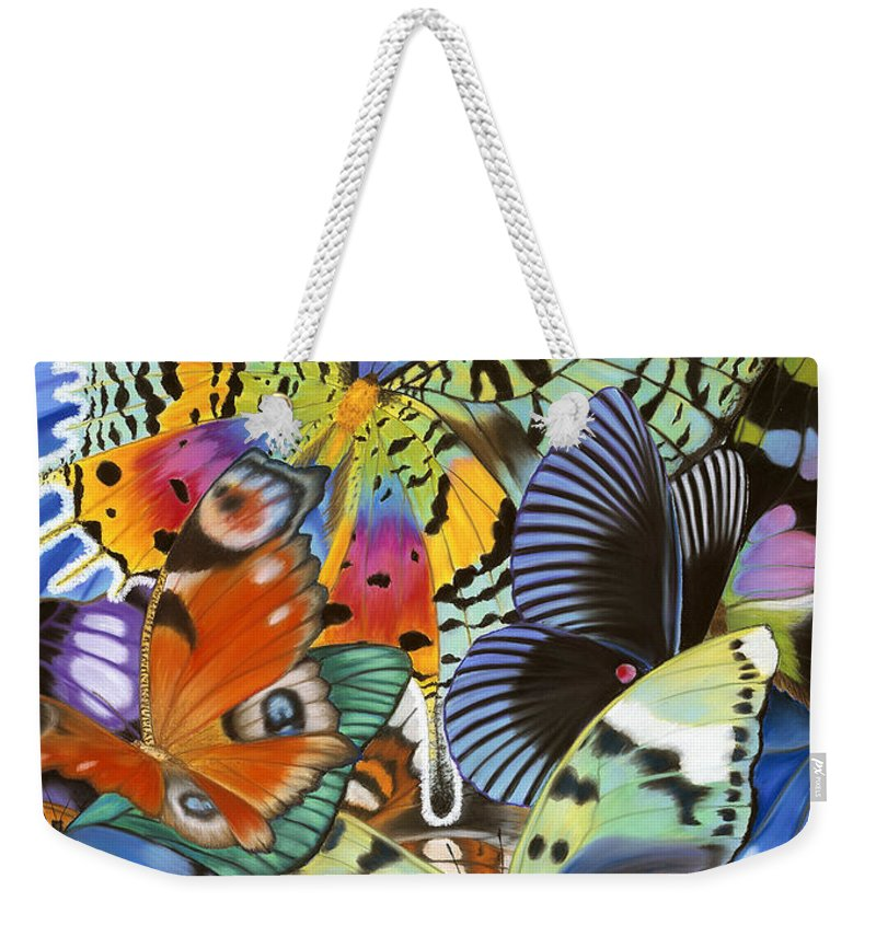 Butterflies Weekender Tote Bag featuring the painting Wings of the world by Lucy Arnold