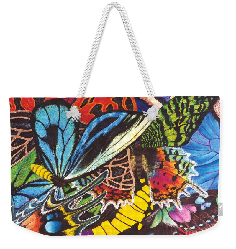 Butterflies Weekender Tote Bag featuring the painting Wings of Utopia by Lucy Arnold