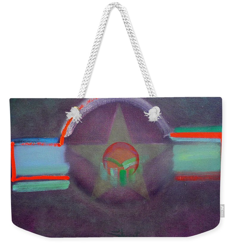 Star Weekender Tote Bag featuring the painting Wings Vermillion  by Charles Stuart