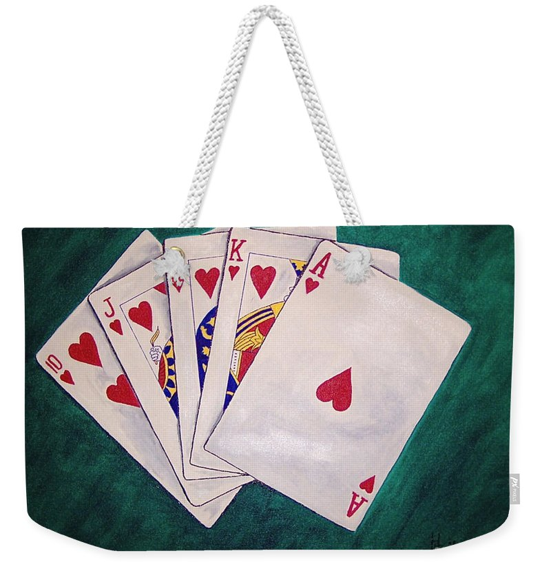 Playing Cards Wining Hand Role Flush Weekender Tote Bag featuring the painting Wining Hand 2 by Herschel Fall