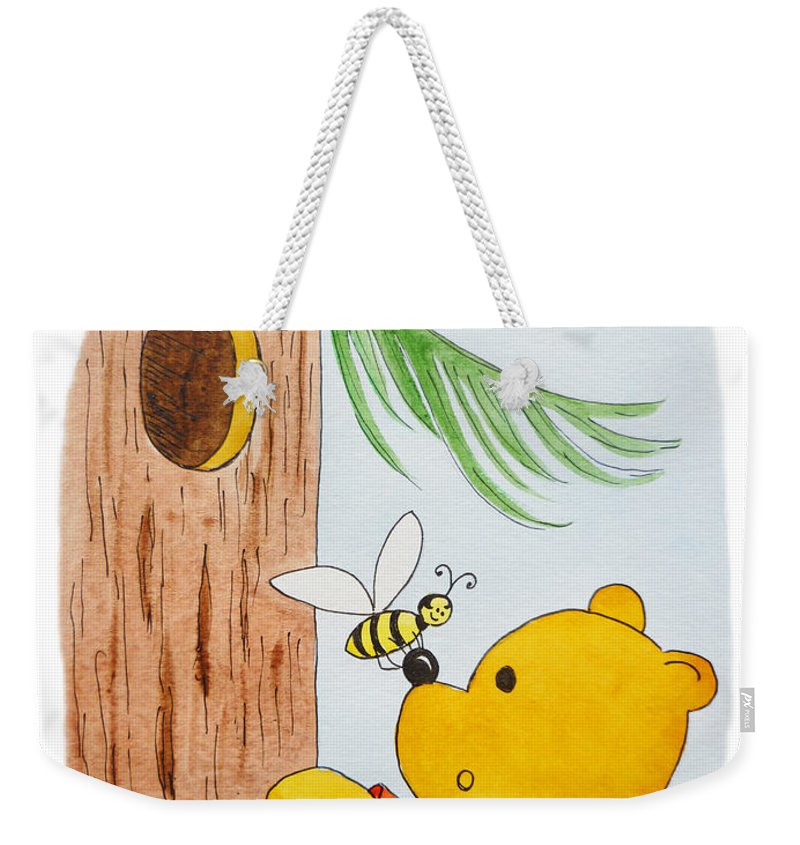 Winnie-the-pooh Weekender Tote Bag featuring the painting Winnie The Pooh And His Lunch by Irina Sztukowski