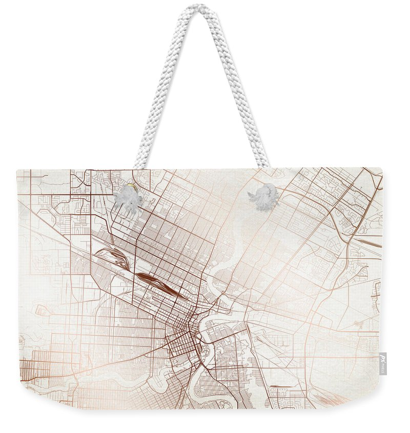 Map Weekender Tote Bag featuring the digital art Winnipeg Street Map Colorful Copper Modern Minimalist by Jurq Studio