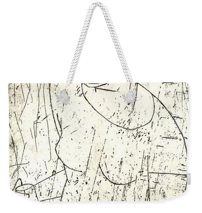 Clay Weekender Tote Bag featuring the painting Wino by Thomas Valentine