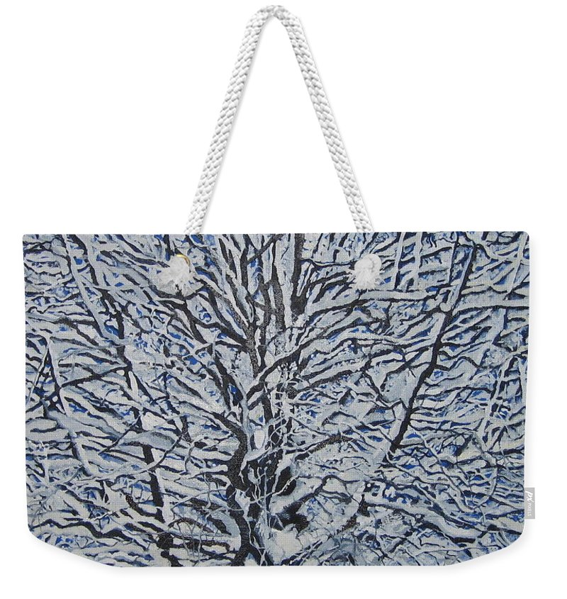 Winter Weekender Tote Bag featuring the painting Winter '05 by Leah Tomaino