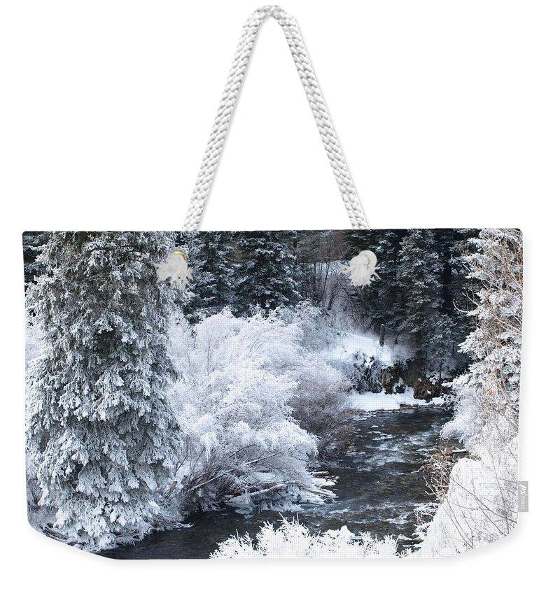 Trees Weekender Tote Bag featuring the photograph Winter Along The Creek by DeeLon Merritt