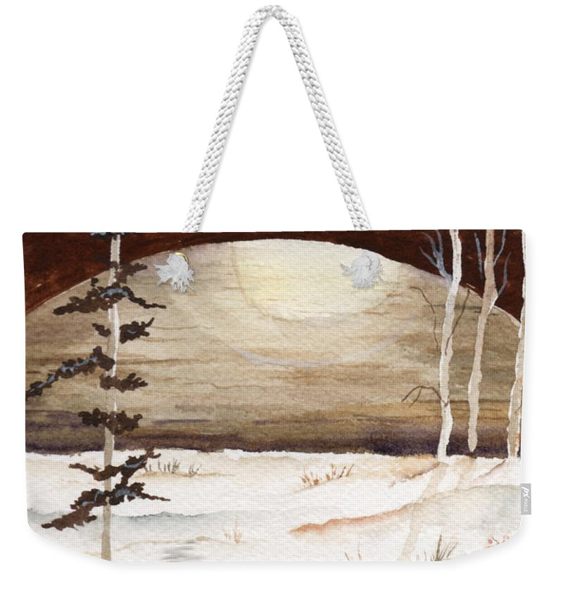 Watercolor Weekender Tote Bag featuring the painting Winter Apex by Brenda Owen