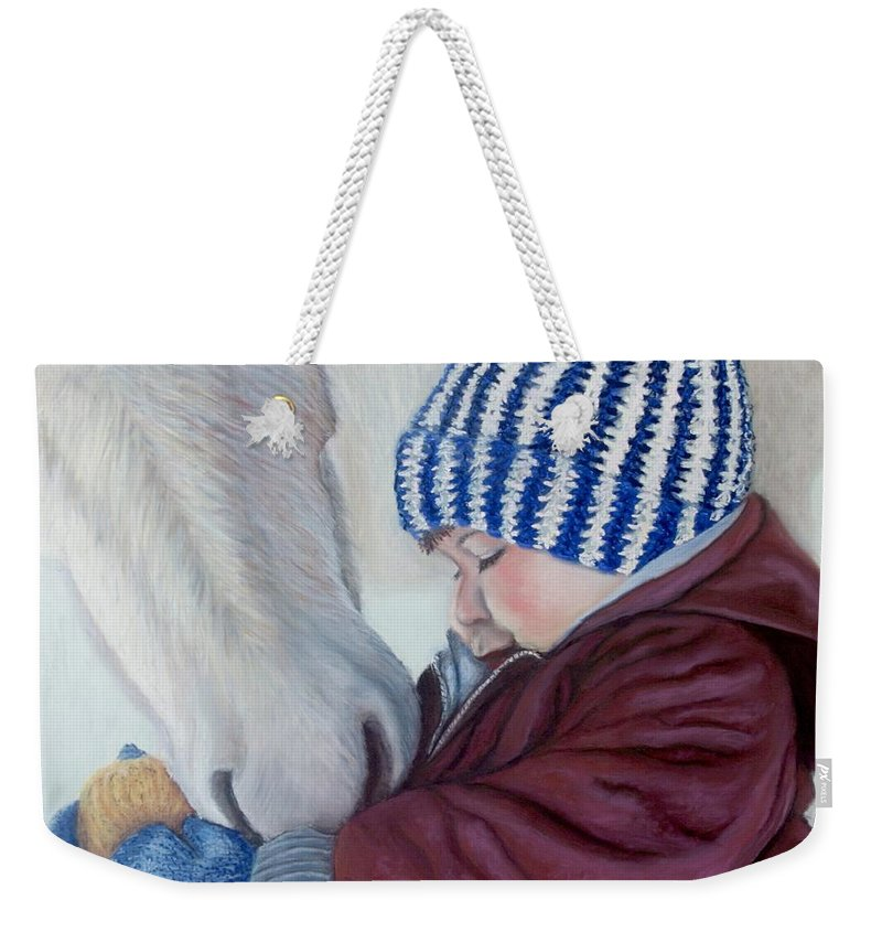 Horse Weekender Tote Bag featuring the painting Winter Apples by Minaz Jantz