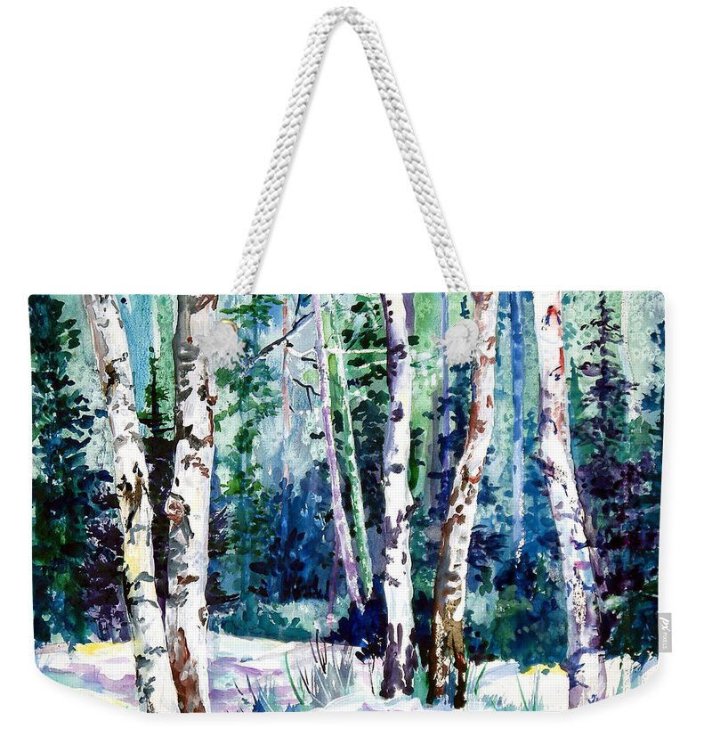 Aspen Treens Weekender Tote Bag featuring the painting Winter Aspen by Connie Williams