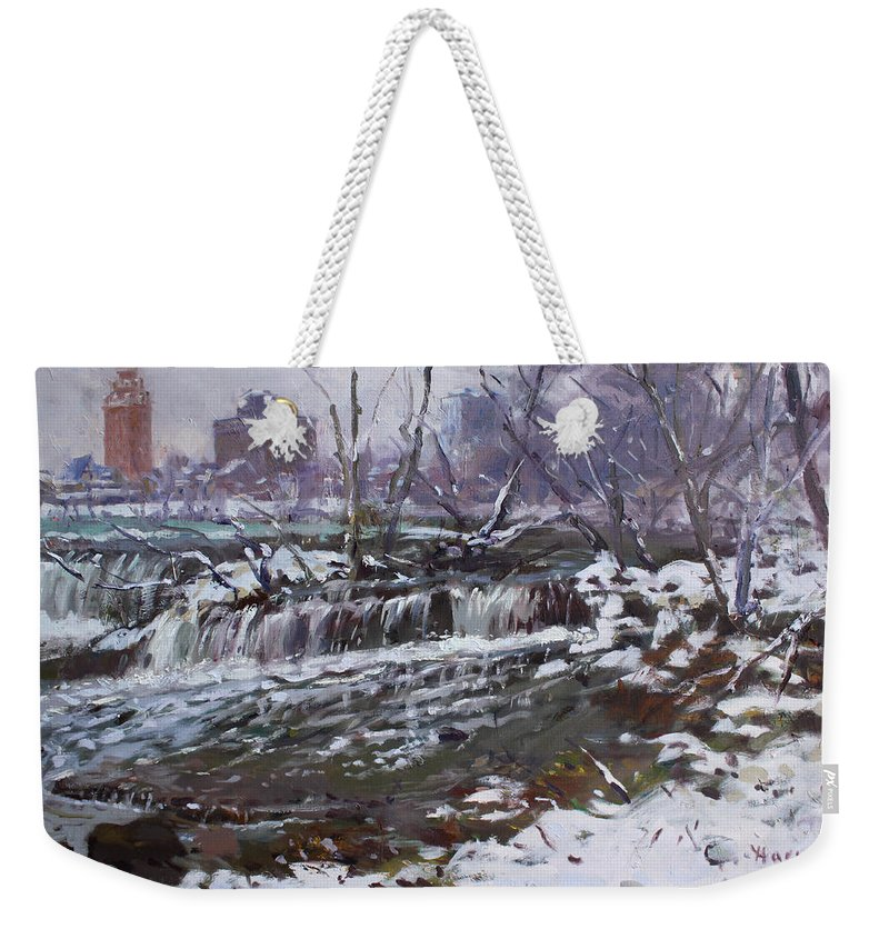 Christmas Eve Weekender Tote Bag featuring the painting Winter At Goat Island by Ylli Haruni