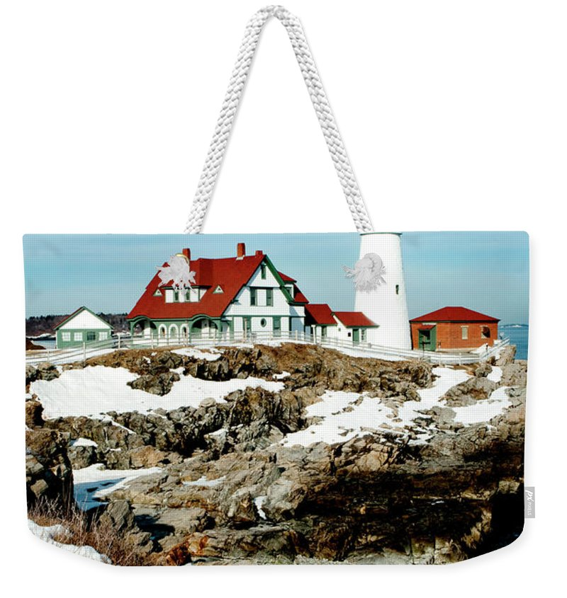 Coast Weekender Tote Bag featuring the photograph Winter At Portland Head by Greg Fortier