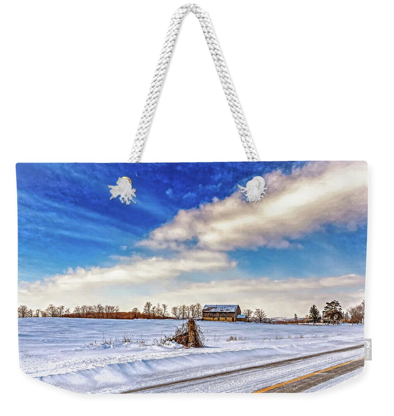 Barn Weekender Tote Bag featuring the photograph Winter Barn 3 - Paint by Steve Harrington