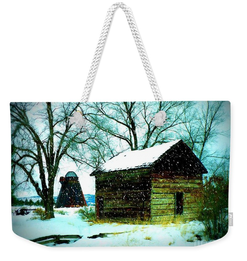 Winter Landscape Weekender Tote Bag featuring the photograph Winter Barn And Silo by Carol Groenen