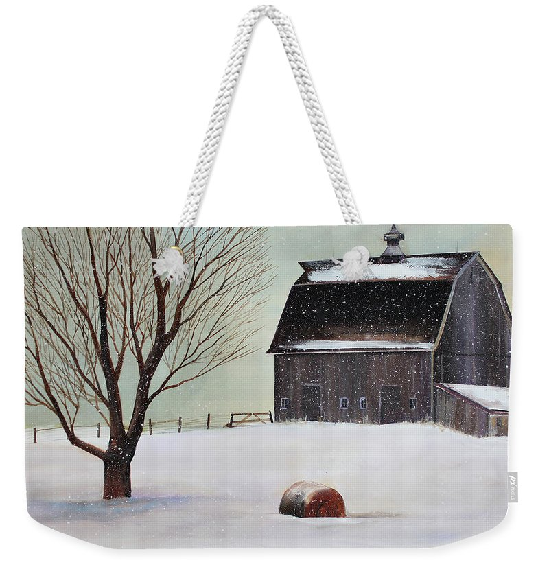 Barn Weekender Tote Bag featuring the painting Winter Barn II by Toni Grote