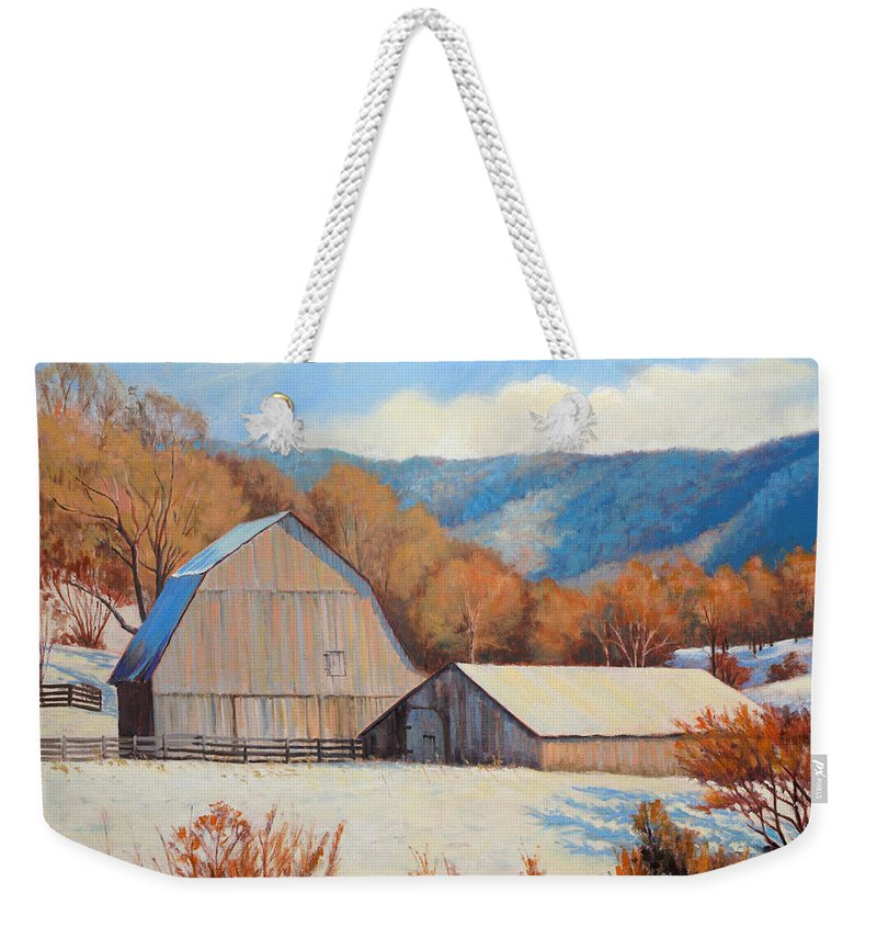Impressionism Weekender Tote Bag featuring the painting Winter Barns by Keith Burgess