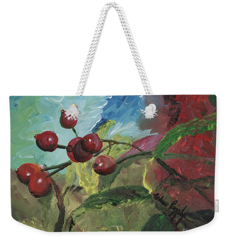 Berries Weekender Tote Bag featuring the painting Winter Berries by Nadine Rippelmeyer