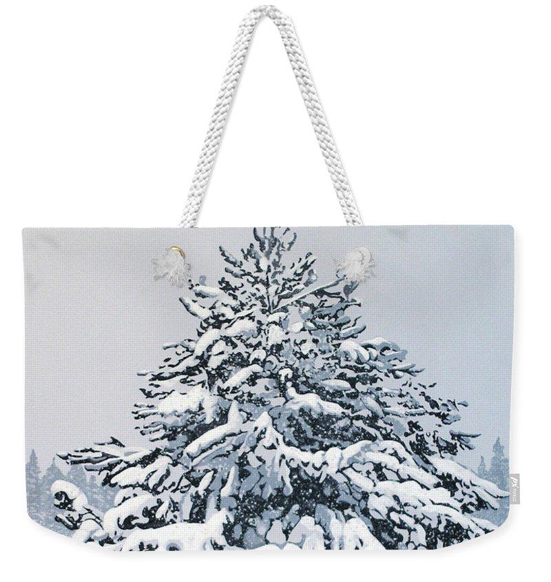 Acrylic Weekender Tote Bag featuring the painting Winter Blanket by Joe Roselle