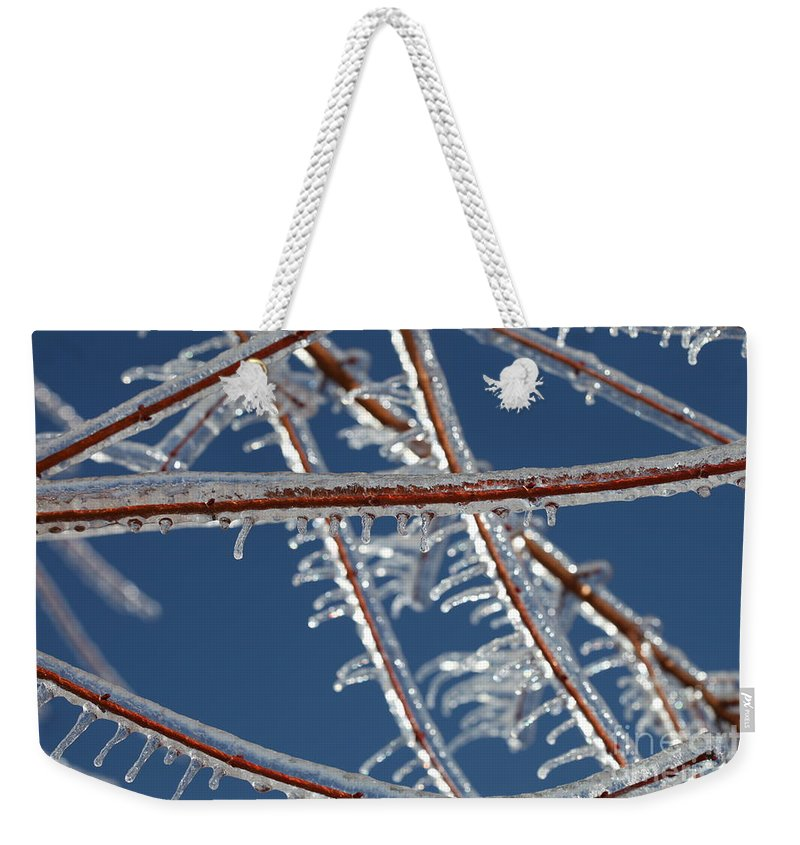 Winter Weekender Tote Bag featuring the photograph Winter Blue by Nadine Rippelmeyer