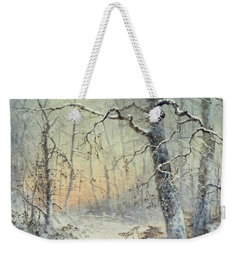 Winter Weekender Tote Bag featuring the painting Winter Breakfast by Joseph Farquharson