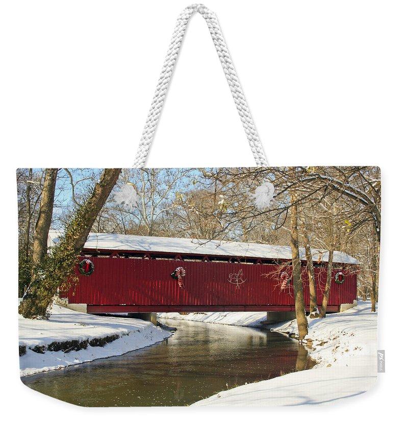 Covered Bridge Weekender Tote Bag featuring the photograph Winter Bridge by Margie Wildblood