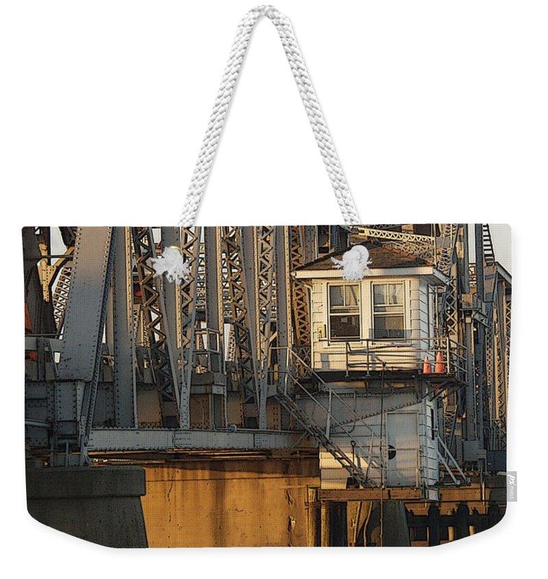 Bridge Weekender Tote Bag featuring the photograph Winter Bridgehouse by Tim Nyberg
