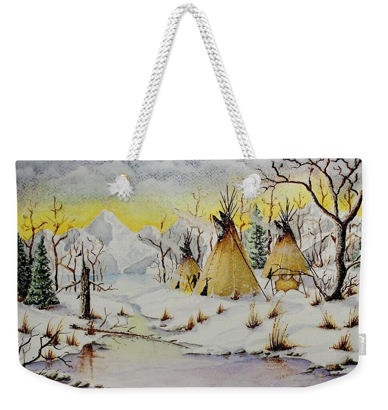 American Weekender Tote Bag featuring the painting Winter Camp by Jimmy Smith