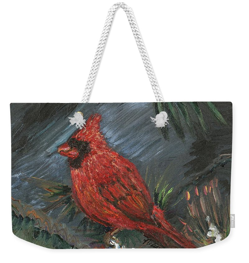 Bird Weekender Tote Bag featuring the painting Winter Cardinal by Nadine Rippelmeyer