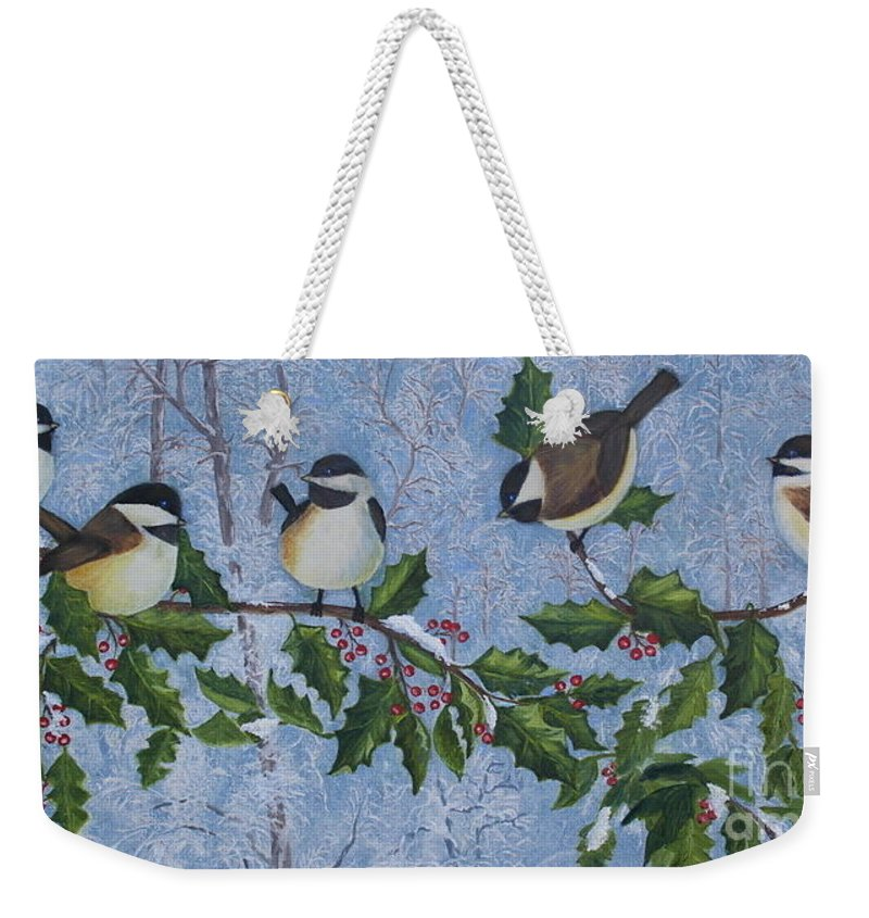 Chickadees Weekender Tote Bag featuring the painting Winter Chickadees by Anna Holbert