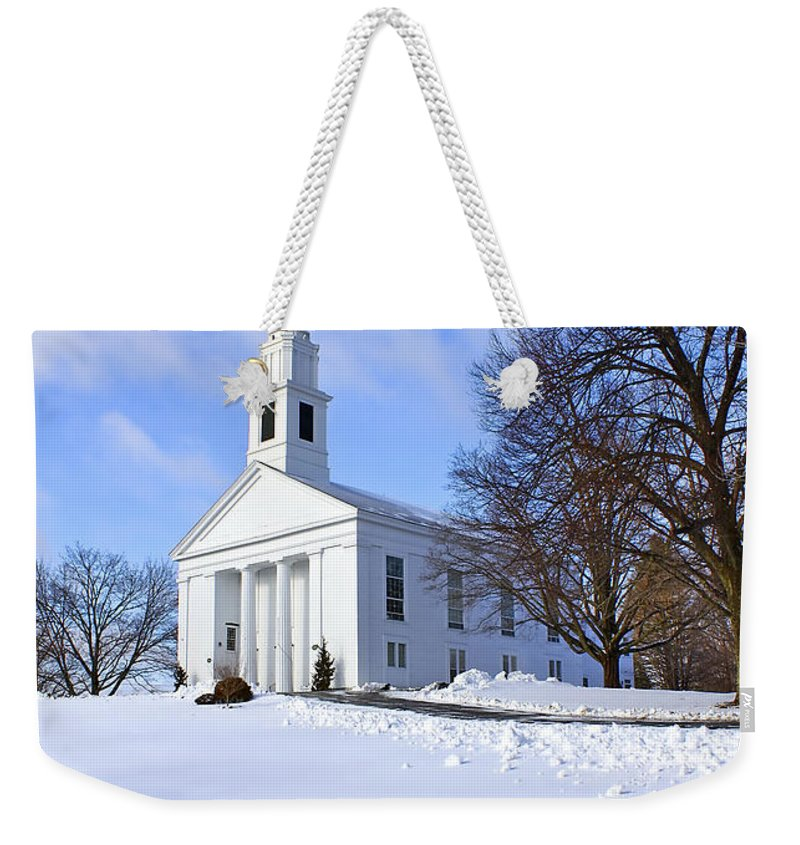Beautiful Weekender Tote Bag featuring the photograph Winter Church by Evelina Kremsdorf