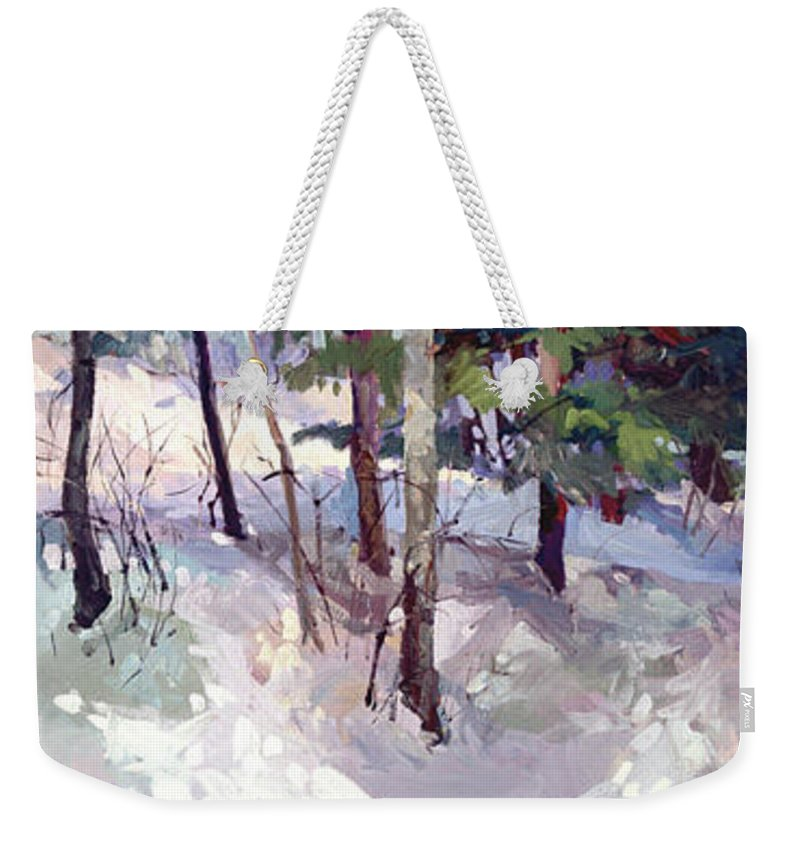 Landscape Weekender Tote Bag featuring the painting Winter Garden Plein Air by Betty Jean Billups