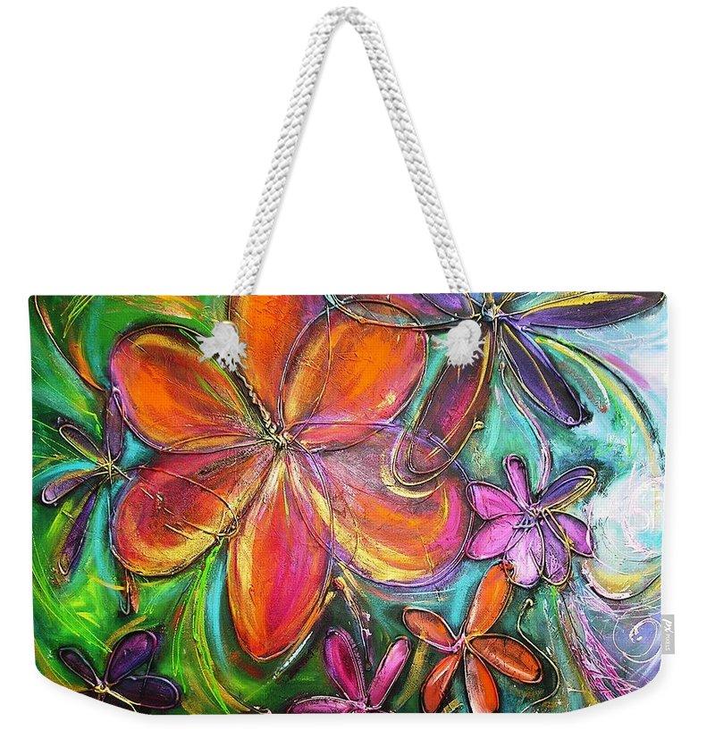 Flower Weekender Tote Bag featuring the painting Winter Glow Flower Painting by Chris Hobel