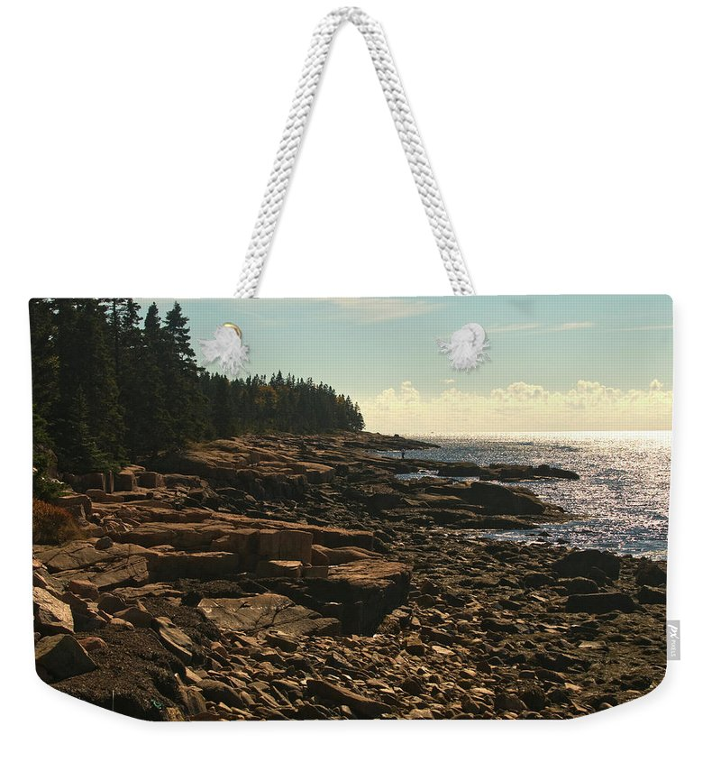 acadia National Park Weekender Tote Bag featuring the photograph Winter Harbor Maine by Paul Mangold