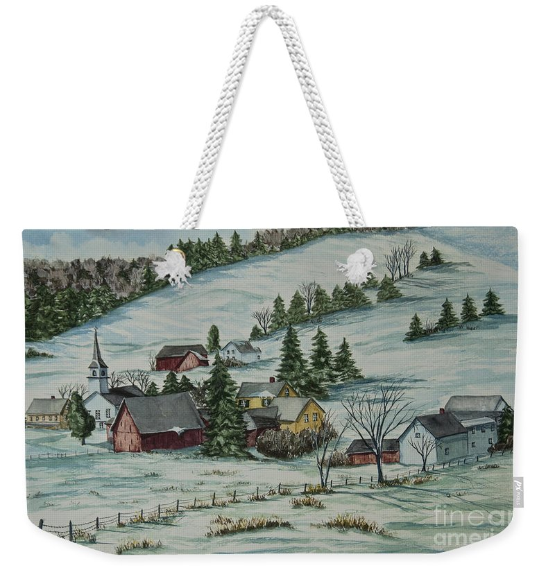 Winter Scene Paintings Weekender Tote Bag featuring the painting Winter In East Chatham Vermont by Charlotte Blanchard