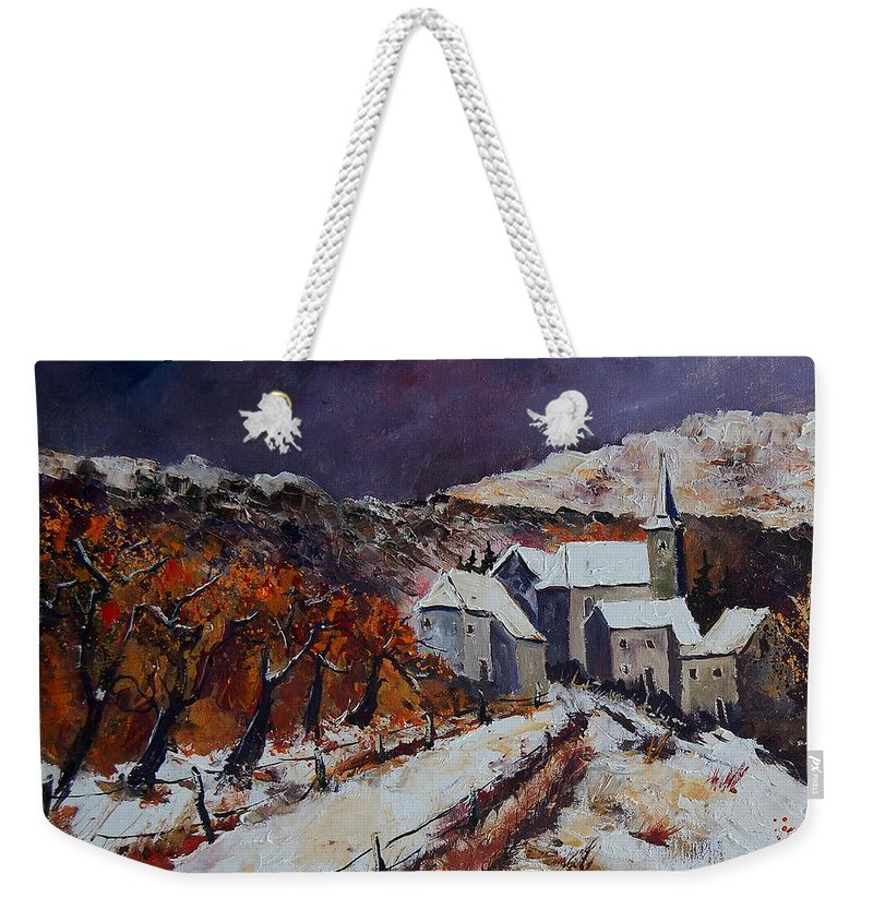 Winter Weekender Tote Bag featuring the painting Winter In Luxembourg by Pol Ledent