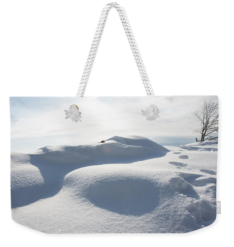 Snow Weekender Tote Bag featuring the photograph Winter In Marblehead Massachusetts by Nicole Freedman