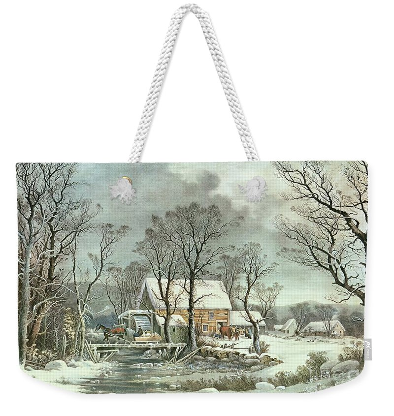 Winter In The Country - The Old Grist Mill Weekender Tote Bag featuring the painting Winter in the Country - the Old Grist Mill by Currier and Ives