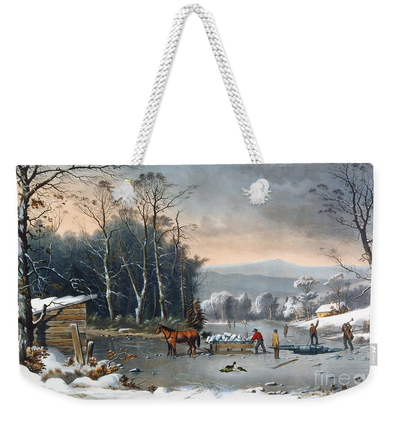 Winter In The Country Weekender Tote Bag featuring the painting Winter In The Country by Currier and Ives