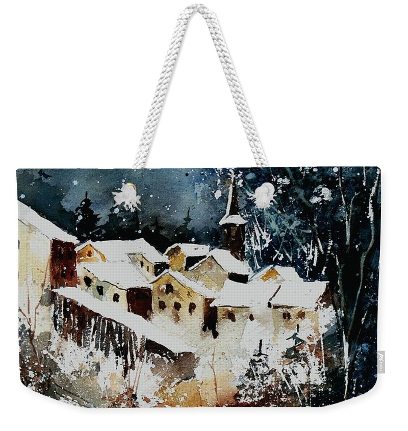 Winter Weekender Tote Bag featuring the painting Winter In Vivy by Pol Ledent
