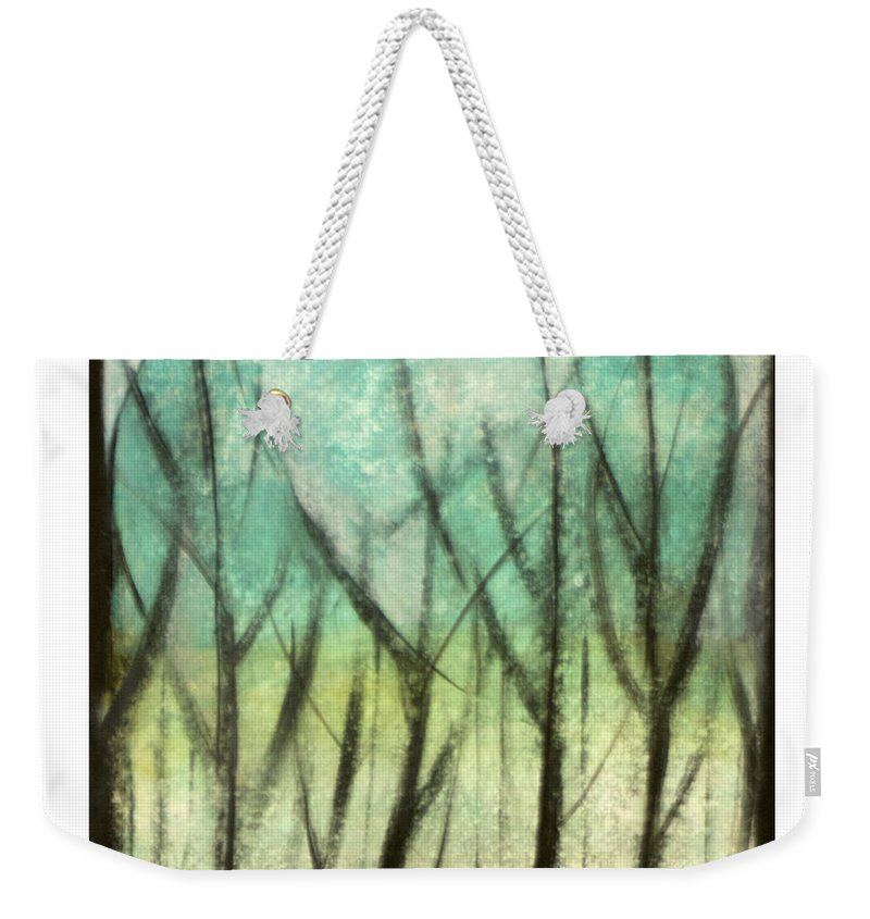 Trees Weekender Tote Bag featuring the painting Winter Into Spring by Tim Nyberg
