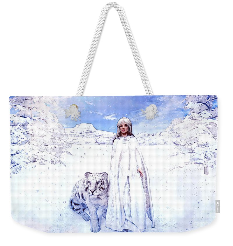 Winter Is Coming Weekender Tote Bag featuring the painting Winter Is Coming by Methune Hively