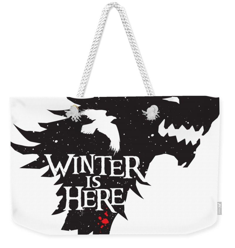 Game Of Thrones Weekender Tote Bag featuring the digital art Winter Is Here by Edward Draganski