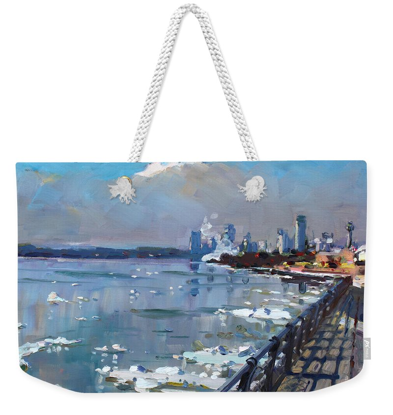 Niagara Falls Weekender Tote Bag featuring the painting Winter Is Surrendering Its Weapons by Ylli Haruni