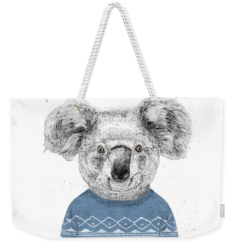 Koala Weekender Tote Bag featuring the drawing Winter Koala by Balazs Solti