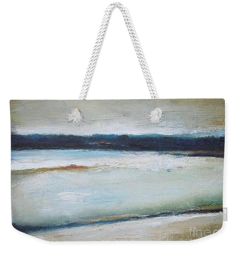 Landscape Weekender Tote Bag featuring the painting Winter Lake by Vesna Antic