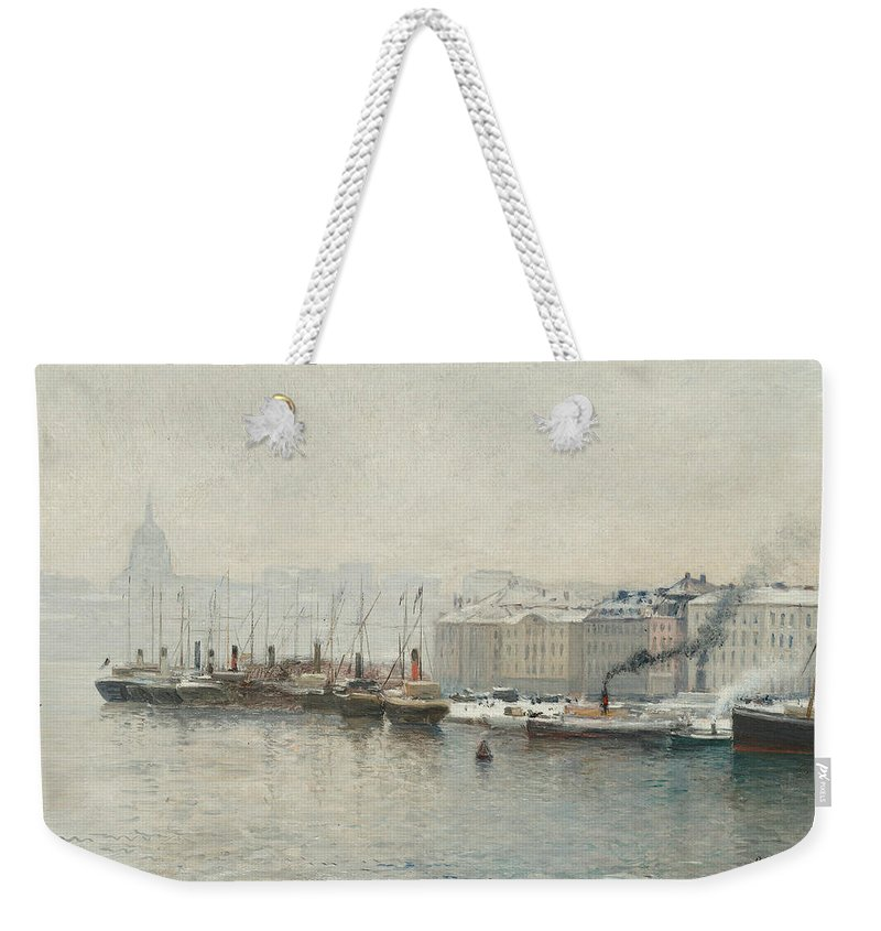 Swedish Art Weekender Tote Bag featuring the painting Winter Landscape Over Skeppsbron, Stockholm by Alfred Wahlberg