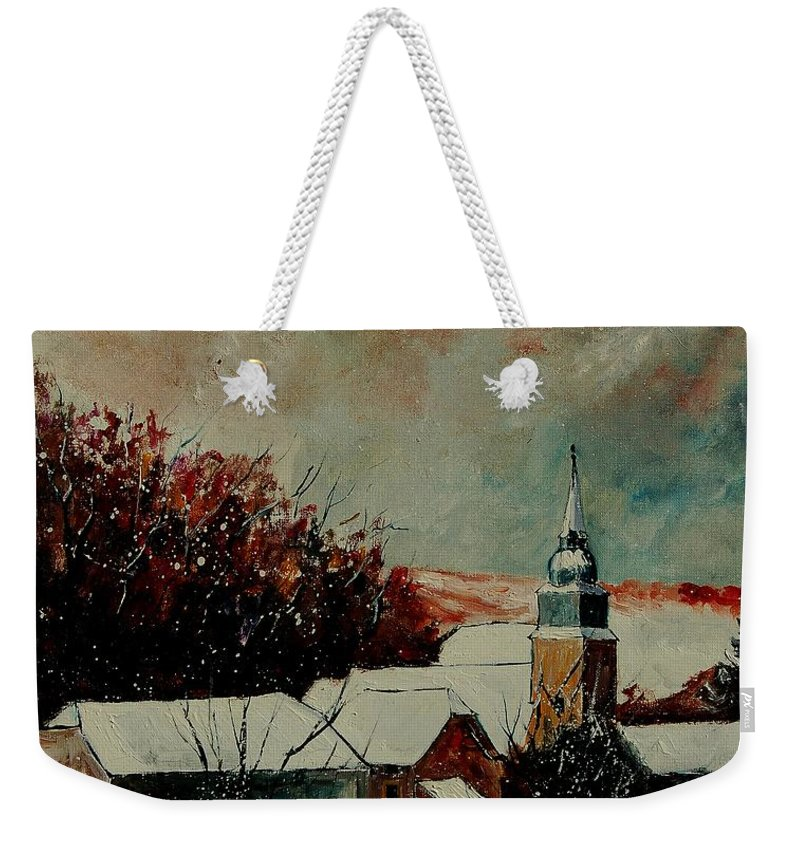 Winter Weekender Tote Bag featuring the painting Winter Landscape by Pol Ledent